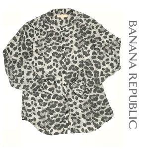 BANANA REPUBLIC Sz 2P grey leopard long sleeve